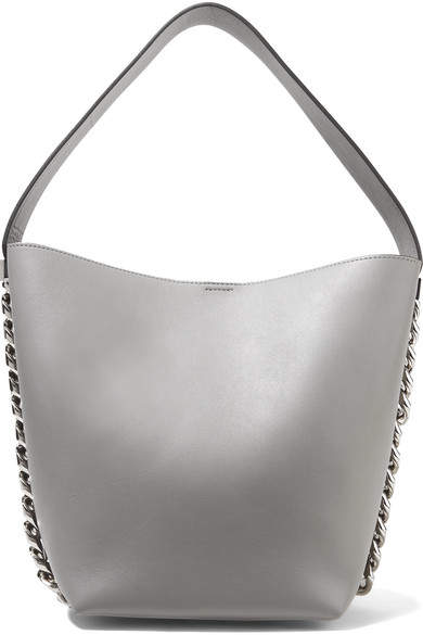 Givenchy Infinity Chain-trimmed Leather Shoulder Bag - Gray