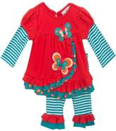 Rare Editions Newborn Girl Fall Butterfly Set -Teal, Coral (3m-9m)