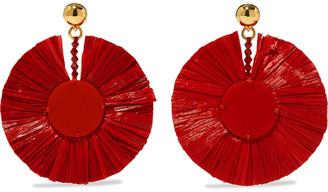 Oscar de la Renta Gold-tone, Raffia, Bead And Acrylic Clip Earrings