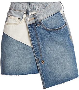 Ksubi Wrap Mini Denim Patchwork Crossover Skirt