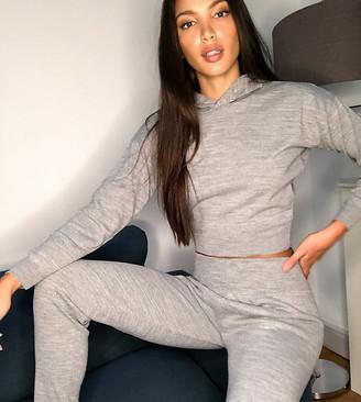 Fashionkilla Tall knitted rib sweatpants two-piece in gray