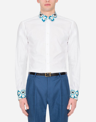 Dolce & Gabbana Gold Cotton Shirt With Maiolica Print Detailing