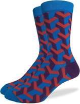 Good Luck Sock Men's Blue & Geometric Crew Socks