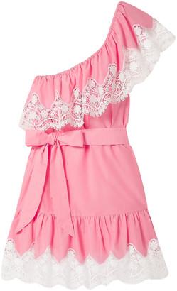 Miguelina Summer One-shoulder Crochet-trimmed Linen Mini Dress