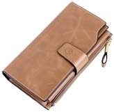 Kaimao Women's Large Capacity Luxury Wax Genuine Leather Wallet Long Purse Ladies Wallets Card Holder with Zipper Pocket