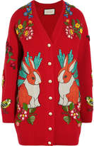 Gucci Embellished Ribbed Merino Wool Cardigan - Red