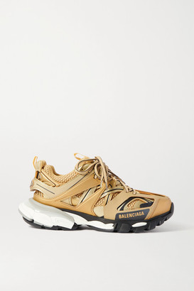 Balenciaga Track Logo-detailed Metallic Mesh And Rubber Sneakers - Gold