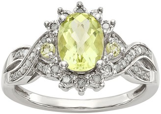 Sterling Gemstone Starburst & 1/7 cttw DiamondRing