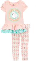 Children's Apparel Network Coral 'Paw Pet Society' Ruffle Tee & Pants - Toddler & Girls