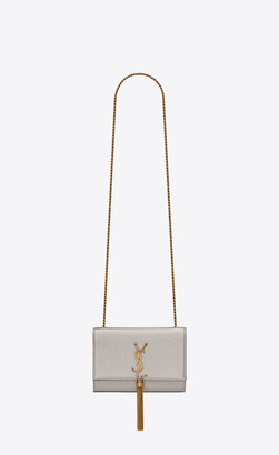 Saint Laurent Monogram Kate Kate Small With Tassel In Laminated Leather Brown Metallic Onesize