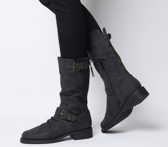 Office Kale Calf Biker Boots Black Fur Lined