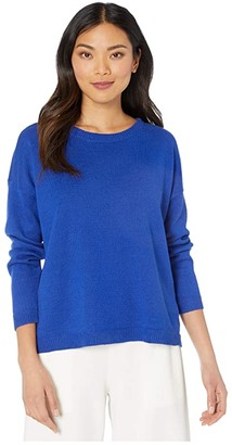 Eileen Fisher Crew Neck Box-Top (Royal) Women's Clothing
