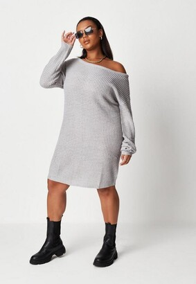 Missguided Plus Size Gray Waffle Off The Shoulder Sweater Dress