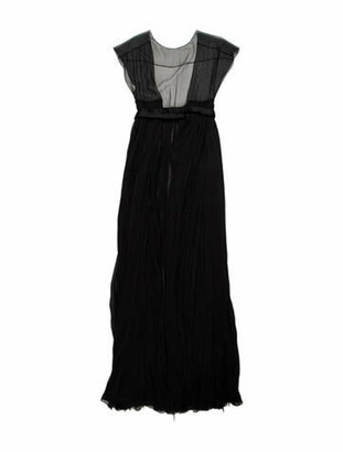 J. Mendel Scoop Neck Long Dress Black
