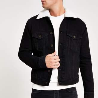 River Island Mens Black fleece borg collar trim denim jacket