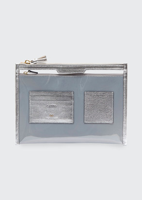 Anya Hindmarch Metallic Safe Deposit Clear Zip Pouch Bag