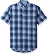 Izod Men's Big and Tall Saltwater Short Sleeve Plaid Shirt