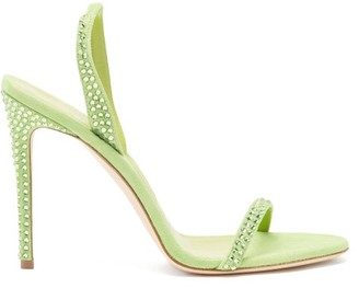 Paris Texas Holly Crystal-embellished Suede Sandals - Green