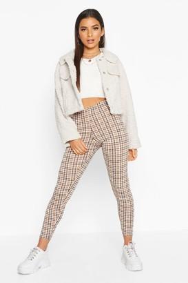 boohoo Tonal Check Basic Jersey Leggings