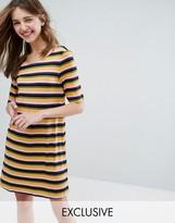 Monki Cross Back Striped T-Shirt Dress