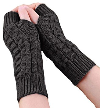 No/A Unisex Knitted Arm Fingerless Winter Gloves Soft Warm Mitten& UK IN STOCK