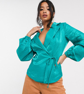 Glamorous Petite tailored blouse with tie front in luxe satin