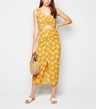 New Look Urban Bliss Brushstroke Ruched Midi Skirt