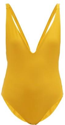JADE SWIM Revel Plunge-front Swimsuit - Womens - Yellow