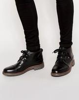 Firetrap Leather Lace Up Desert Boots - Black