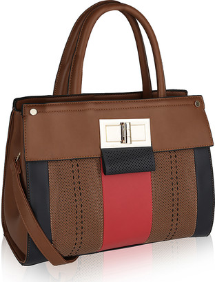 MKF Collection by Mia K. Women's Handbags - Brown Color Block Tina Satchel
