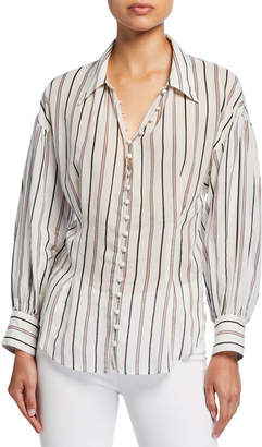 Joie Minya Striped Button-Down Blouse