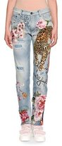 Dolce & Gabbana Leopard & Rose Painted Mid-Rise Straight-Leg Jeans