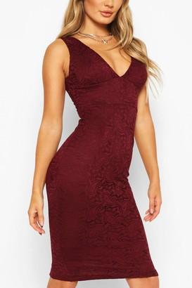 boohoo V-neck Bodycon Midi Dress