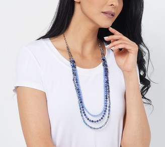 """Susan Graver 32"""" Graduated Crystal and Gemstone Beaded Necklace"""