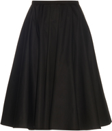 Rochas A-line cotton-blend poplin midi skirt