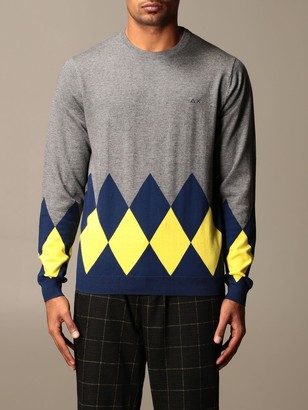 Sun 68 Crewneck Sweater With Diamond Pattern