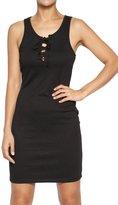 TheMogan Women's Sleeveless Stretchy Knit Lace Up Tank Mini Dress S