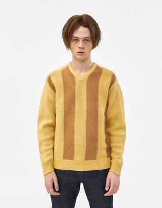 Beams V-Neck Shaggy Stripe Sweater