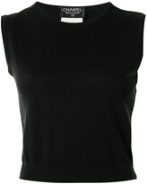 Chanel Pre Owned CC round neck sleeveless knit tops