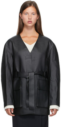 Low Classic Black No Collar Faux-Leather Jacket