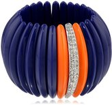 Kenneth Jay Lane Lapis Coral and Rhine Center Bars Stretch Cuff Bracelet, 10""