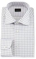 Ermenegildo Zegna Contemporary-Fit Large Box-Check Dress Shirt, White