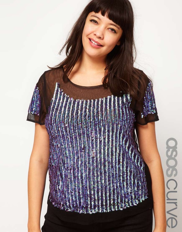 Asos Top with Sequin Hologram Panel