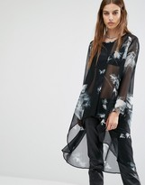 Religion Smock Top With All Over Bird Print