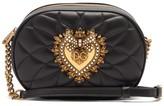 Dolce & Gabbana Devotion Heart-embellished Quilted-leather Bag - Womens - Black