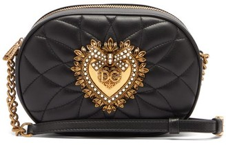 Dolce & Gabbana Devotion Heart-embellished Quilted-leather Bag - Womens - Black