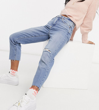 New Look Petite ripped straight leg jeans in light blue