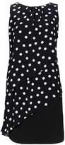 Wallis Petite Black Polka Dot Ruffle Front Overlay Dress