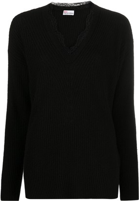 RED Valentino lace-detail V-neck jumper
