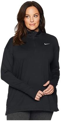 Nike Element 1/2 Zip Top (Sizes 1X-3X) (Black) Women's Long Sleeve Pullover